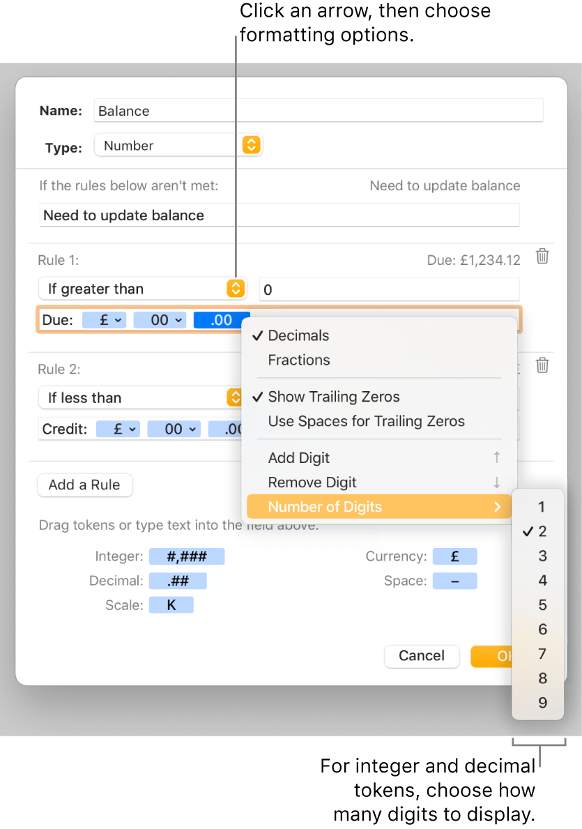 The custom cell format window with controls for choosing custom formatting options.