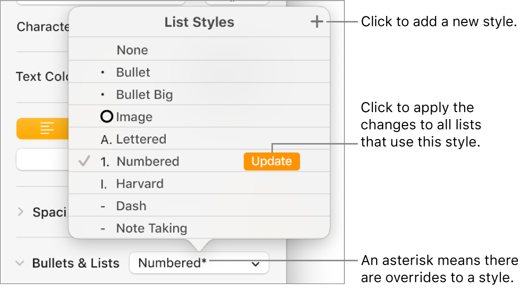 List Styles pop-up menu with an asterisk indicating an override and callouts to the New Style button and a submenu of options for managing styles.