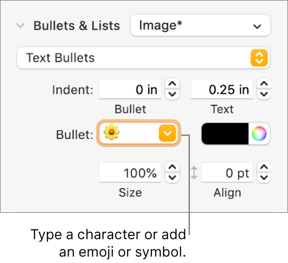 The Bullets & Lists section of the Format sidebar. The Bullet field shows a flower emoji.