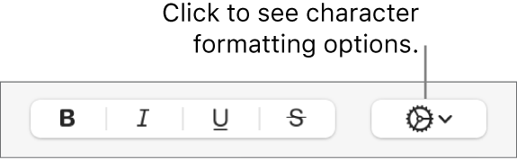 The Advanced Options pop-up menu to the right of the Bold, Italic, Underline, and Strikethrough buttons.