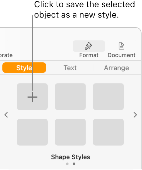 The Style tab of the Format sidebar, with the Create Style button in the upper-left corner and five empty style placeholders.
