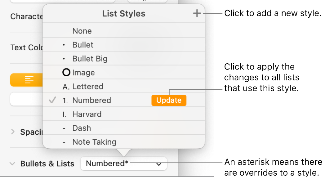 List Styles pop-up menu with an asterisk indicating an override and callouts to the New Style button, and a submenu of options for managing styles.