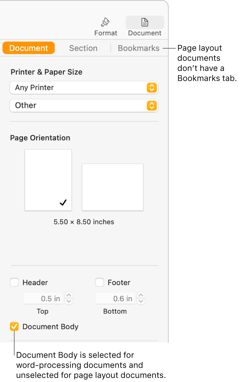 The Format sidebar with Document, Section, and Bookmarks tabs at the top. The Document tab is selected and a callout to the Bookmarks tab says that page layout documents don't have a Bookmarks tab. The Document Body checkbox is selected, which also indicates that this is a word-processing document.