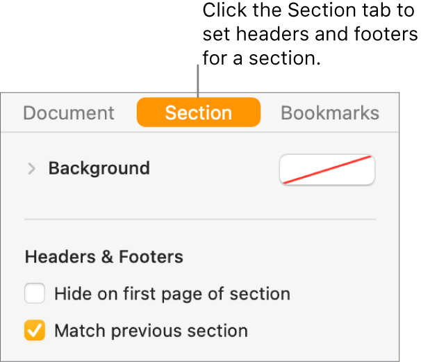 "The Document sidebar with the Section tab at the top of the sidebar selected. The Headers & Footers section of the sidebar has checkboxes next to ""Hide on first page of section"" and ""Match previous section."""