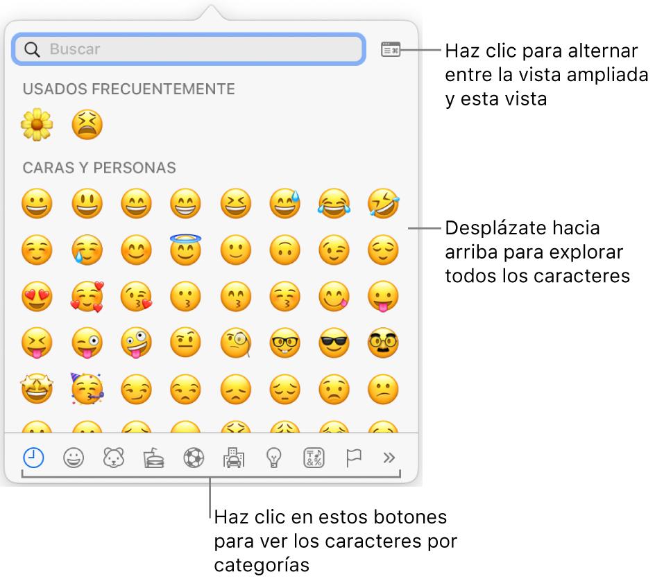 """La ventana desplegable """"Caracteres especiales"""" con emotíconos, botones para diferentes tipos de símbolos en la parte inferior y un mensaje en un botón para mostrar la ventana Caracteres completa."""