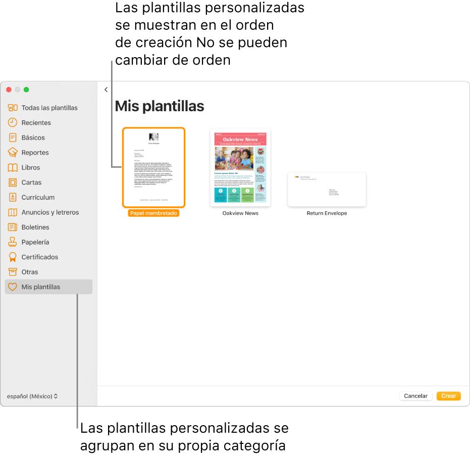 """El selector de plantilla con la categoría """"Mis plantillas"""" como la última categoría a la izquierda. Las plantillas personalizadas se muestran en el orden en el que se crearon y no se pueden reorganizar."""