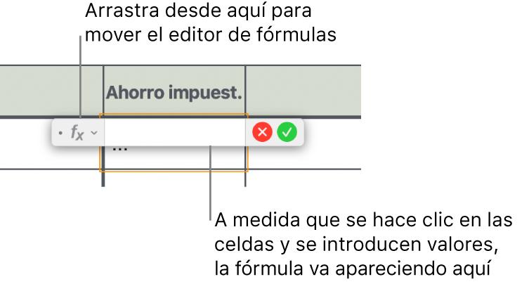 Editor de fórmulas.