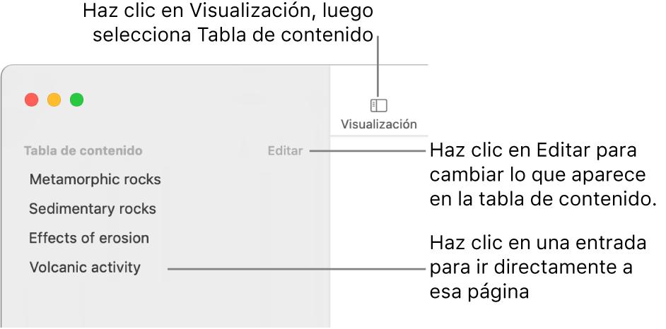 La tabla de contenido en el lado izquierdo de la ventana de Pages con un botón de Edición en la esquina superior derecha de la barra lateral y las entradas de la tabla de contenido en una lista.