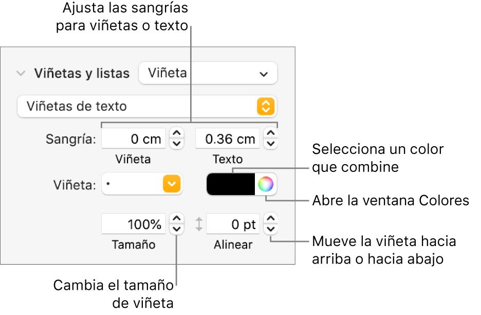 """Sección """"Viñetas y listas"""" con mensajes en los controles de sangría de viñeta y texto, color de viñeta, tamaño de viñeta y alineación."""