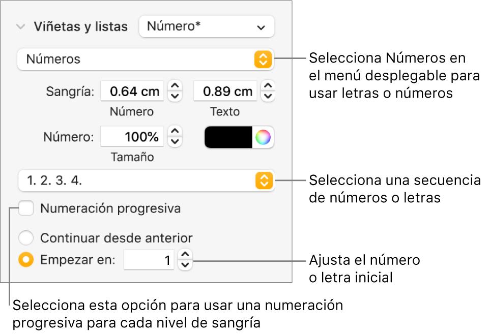 Controles para cambiar el estilo de numeración y el espaciado de una lista.