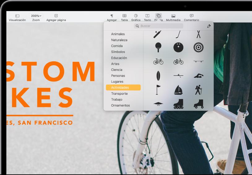 La barra de herramientas con botones para agregar tablas, gráficas, cuadros de texto, figuras y contenido multimedia. Se selecciona Forma y se muestra la categoría Actividades seleccionada en la barra lateral de la izquierda y figuras a la derecha.