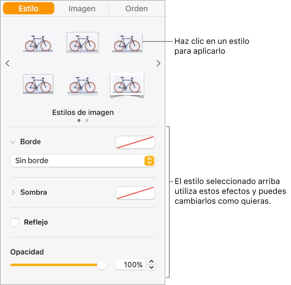 La pestaña Estilo de la barra lateral Formato con opciones de estilo de objeto.