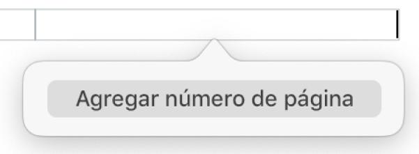 """Botón """"Insertar número de página"""" debajo del encabezado."""