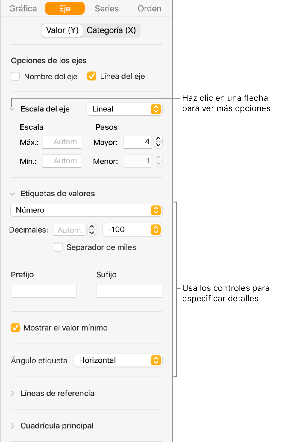 Controles para dar formato a las marcas de eje de una gráfica.