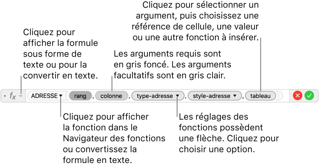 Éditeur de formule affichant la fonction ADRESSE et les jetons d'argument correspondants.