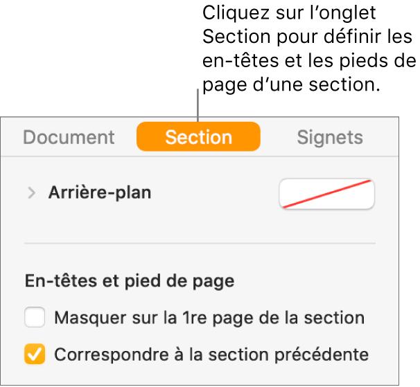 La barre latérale Document avec l'onglet Section sélectionné en haut de la barre latérale. La section «En-têtes et pieds de page» de la barre latérale possède des cases en regard des options «Masquer sur la 1re page de la section» et «Correspondre à la section précédente».