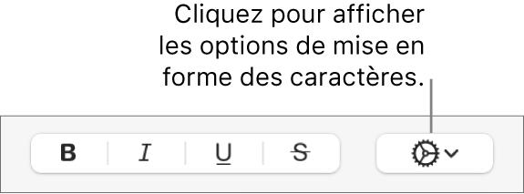 Le menu local «Options avancées» à droite des boutons Gras, Italique, Souligné et Barré.