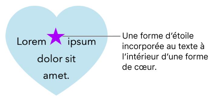 Une figure en forme d'étoile est incorporée au texte à l'intérieur d'un cœur.