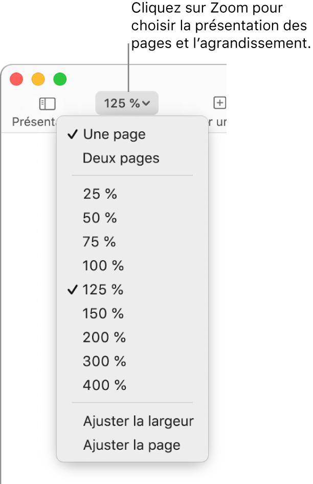 Le menu local Zoom avec des options pour afficher une page et deux pages en haut, des pourcentages de 25% à 400% au-dessous, et Ajuster la largeur et Ajuster la page en bas.