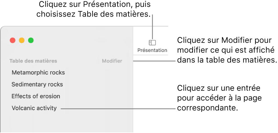 La table des matières à gauche de la fenêtre Pages avec un bouton Modifier dans le coin supérieur droit de la barre latérale et les entrées de la table des matières dans une liste. Le bouton Présentation se trouve dans le coin supérieur gauche de la barre d'outils Pages, au-dessus de la barre latérale.