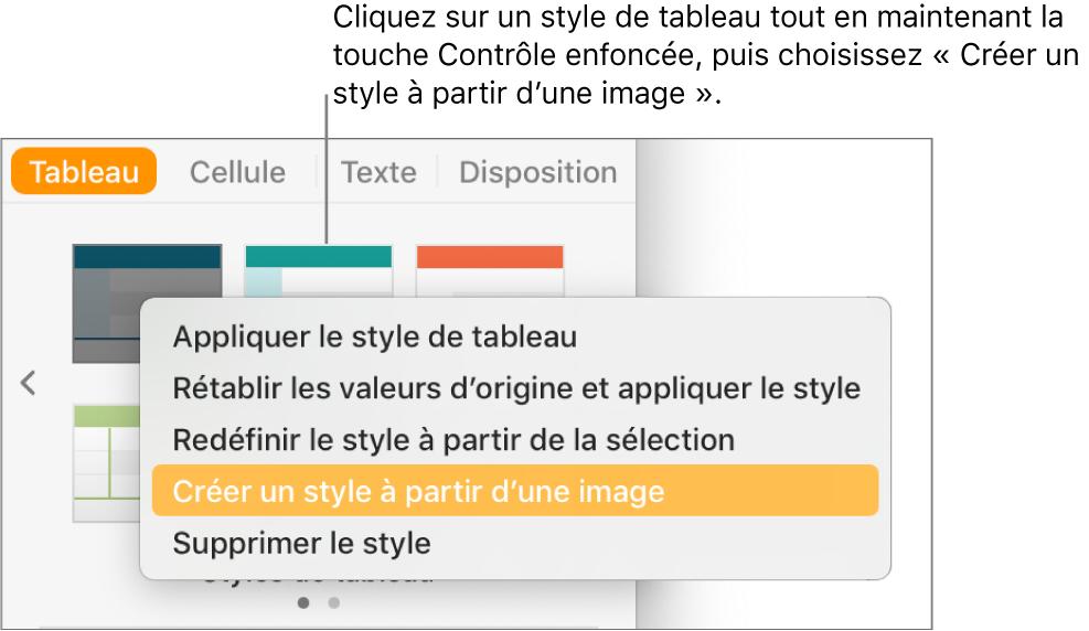 Le menu contextuel Style de tableau.