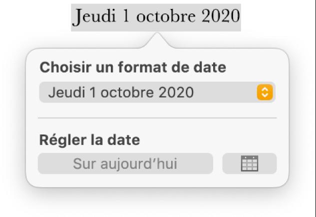 Les commandes «Date et heure» affichant un menu local pour le format de date, ainsi qu'un bouton «Sur aujourd'hui».