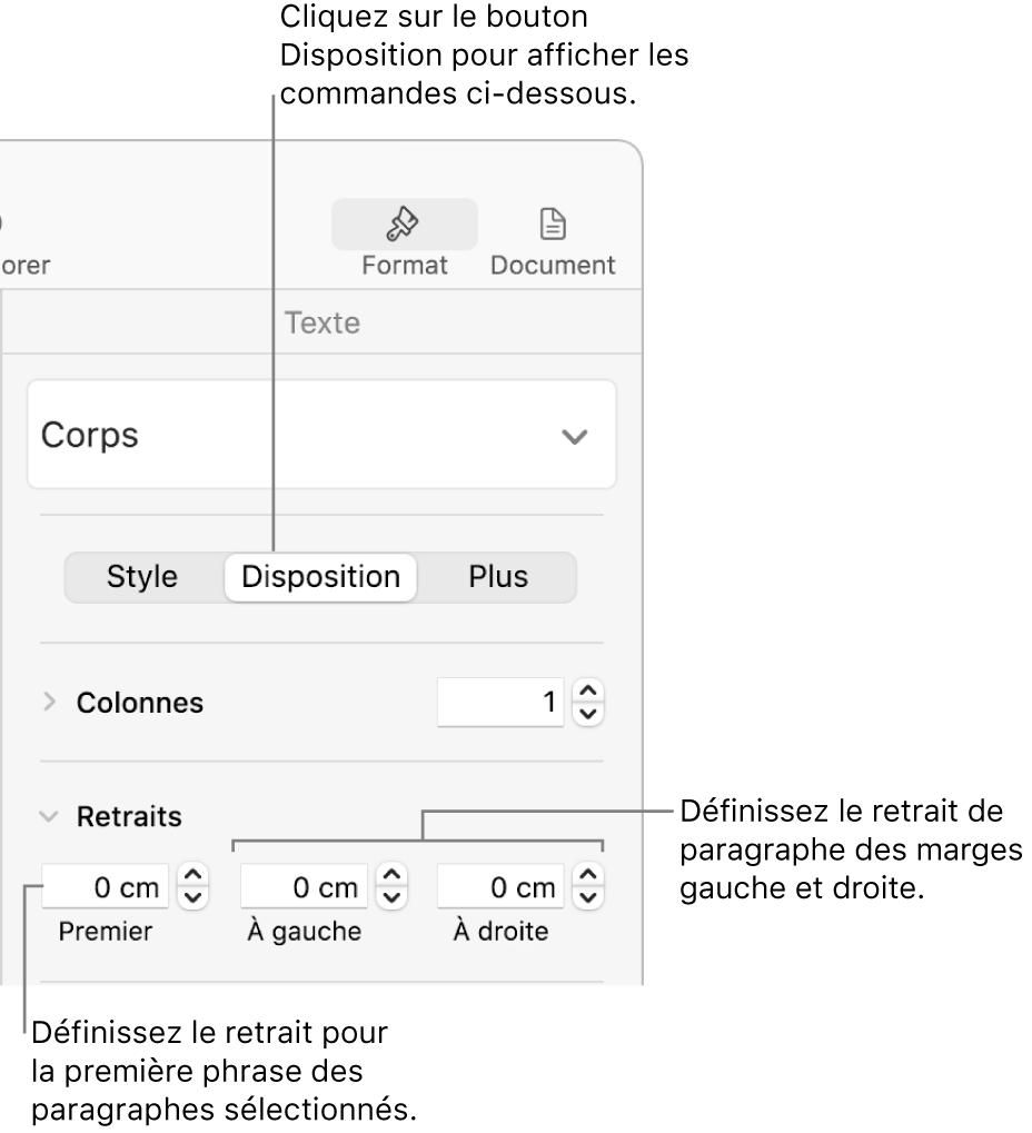 Commandes dans la section Disposition de la barre latérale Formats, permettant de définir le retrait de première ligne.