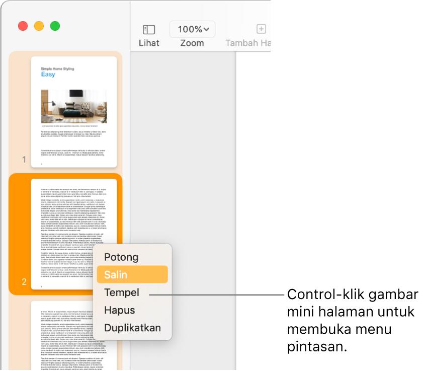 Tampilan Gambar Mini Halaman dengan satu gambar mini dipilih dan menu pintasan dibuka.