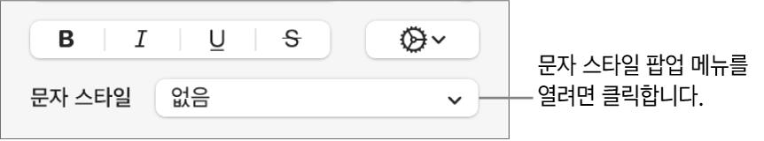 텍스트 스타일 및 색상 변경 제어기 아래에 있는 문자 스타일 팝업 메뉴.