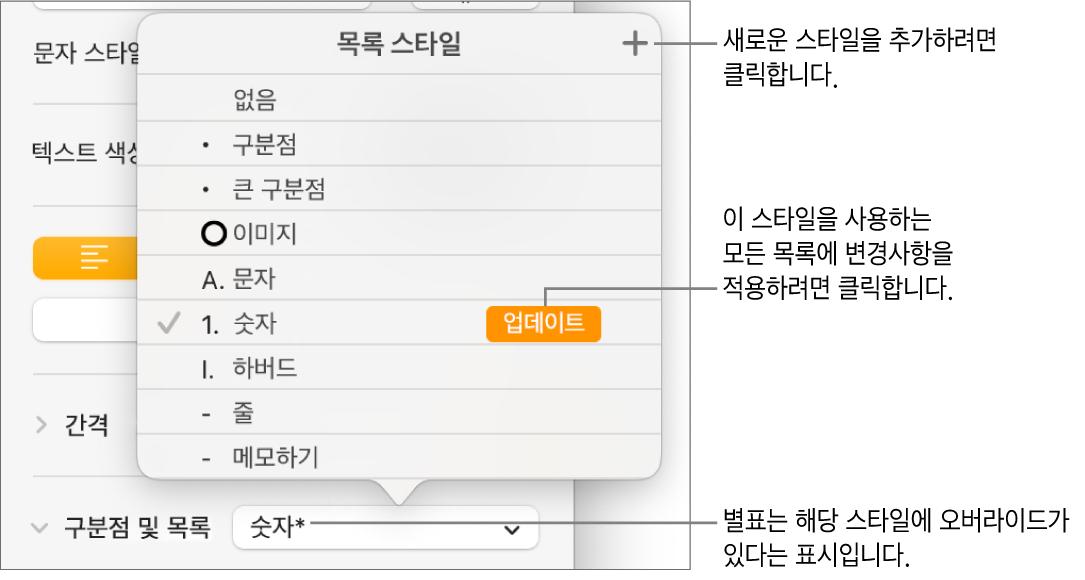 오버라이드와 새로운 스타일 버튼에 대한 설명 그리고 스타일을 관리하기 위한 하위 메뉴 옵션을 나타내는 별표가 있는 목록 스타일 팝업 메뉴.