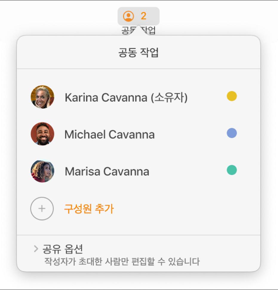 문서에서 공동으로 작업하는 사람들의 이름을 나타내는 공동 작업 메뉴. 이름 아래에 나타나는 공유 옵션.