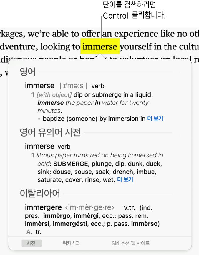 문장에서 한 단어가 하이라이트되어 있고 해당 단어의 정의와 유의어 사전 항목을 표시하는 윈도우가 있는 이미지 윈도우 하단에 사전, 위키백과 및 Siri 추천 웹 사이트 링크를 제공하는 버튼이 있음.