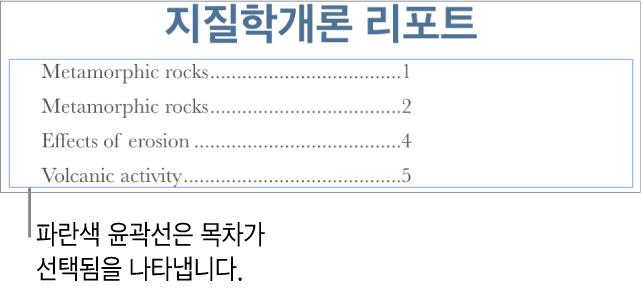 문서에 삽입된 목차. 머리말이 페이지 번호와 나란히 표시된 항목.