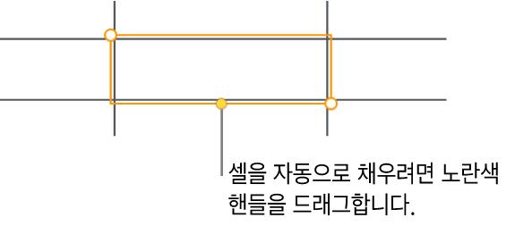 드래그하면 셀 자동 채우기를 할 수 있는 노란색 핸들이 있는 선택된 셀.