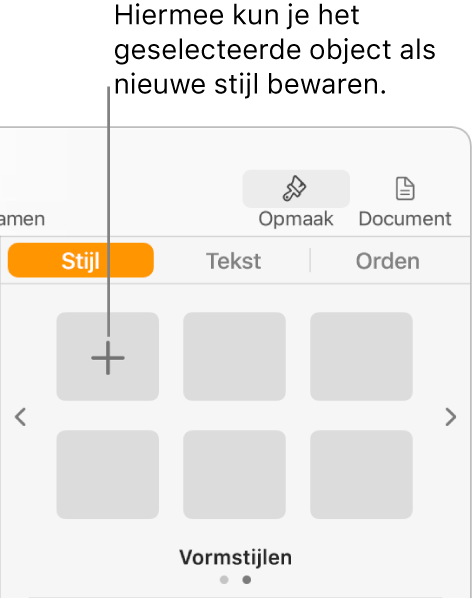 Het tabblad 'Stijl' in de navigatiekolom 'Opmaak' met linksbovenin de knop voor een nieuwe stijl en vijf lege plaatsaanduidingen voor stijlen.