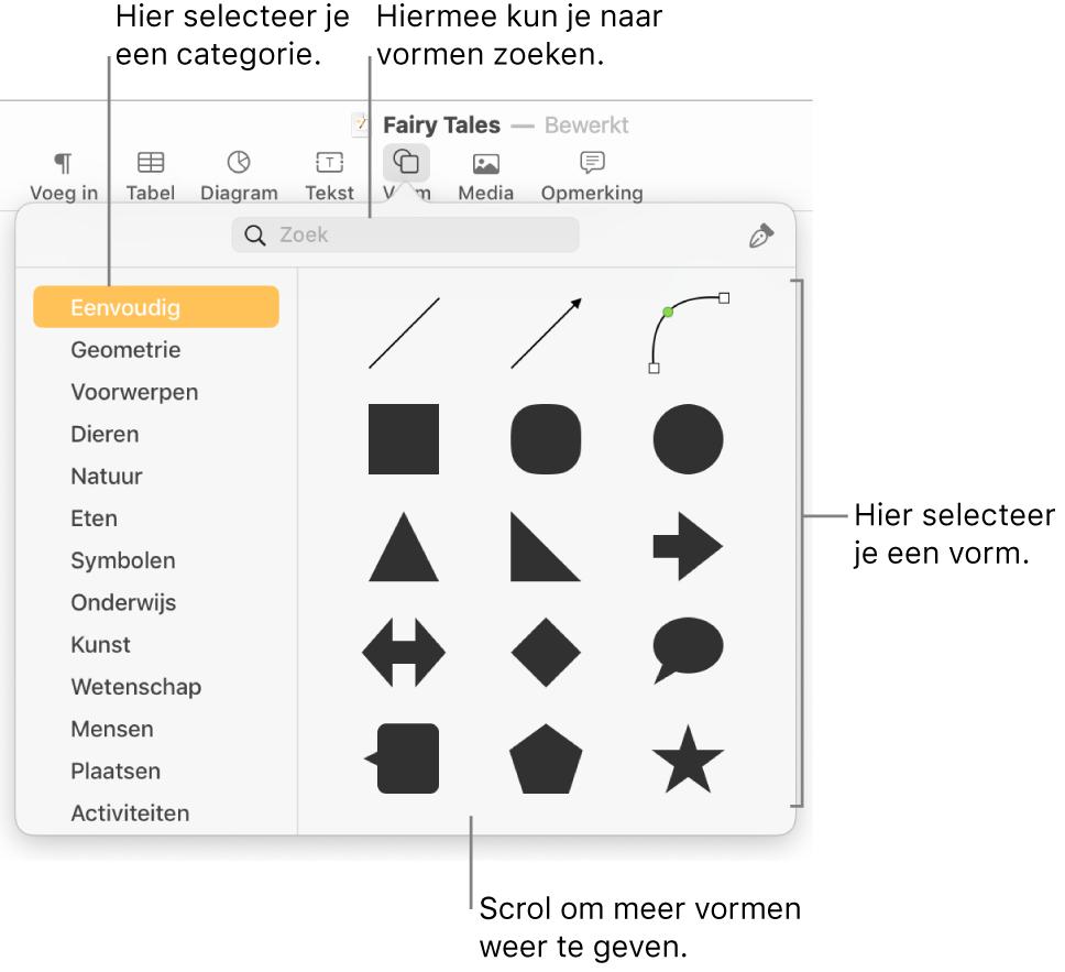 De vormenbibliotheek met links een lijst met categorieën en rechts vormen. Je kunt het zoekveld bovenaan gebruiken om vormen te zoeken. Scrol om meer opties weer te geven.