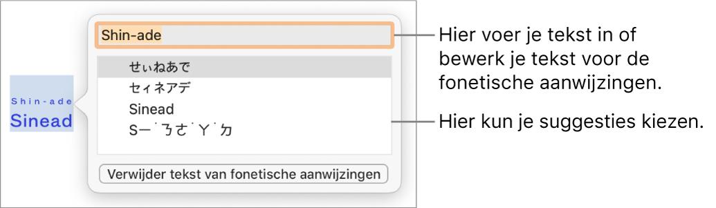 De fonetische aanwijzingen voor een woord, met uitleg bij het tekstveld en de voorgestelde tekst.