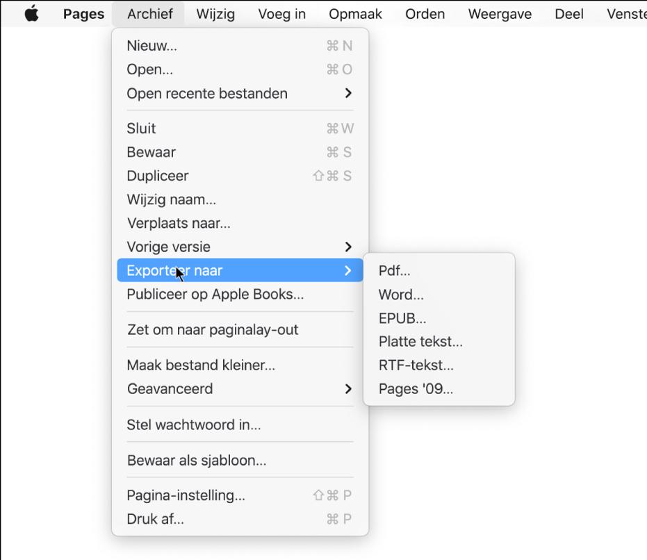 Geopend Archief-menu met de optie 'Exporteer naar' geselecteerd en in het submenu de exportopties voor pdf, Word, platte tekst, RTF-tekst, EPUB en Pages'09.