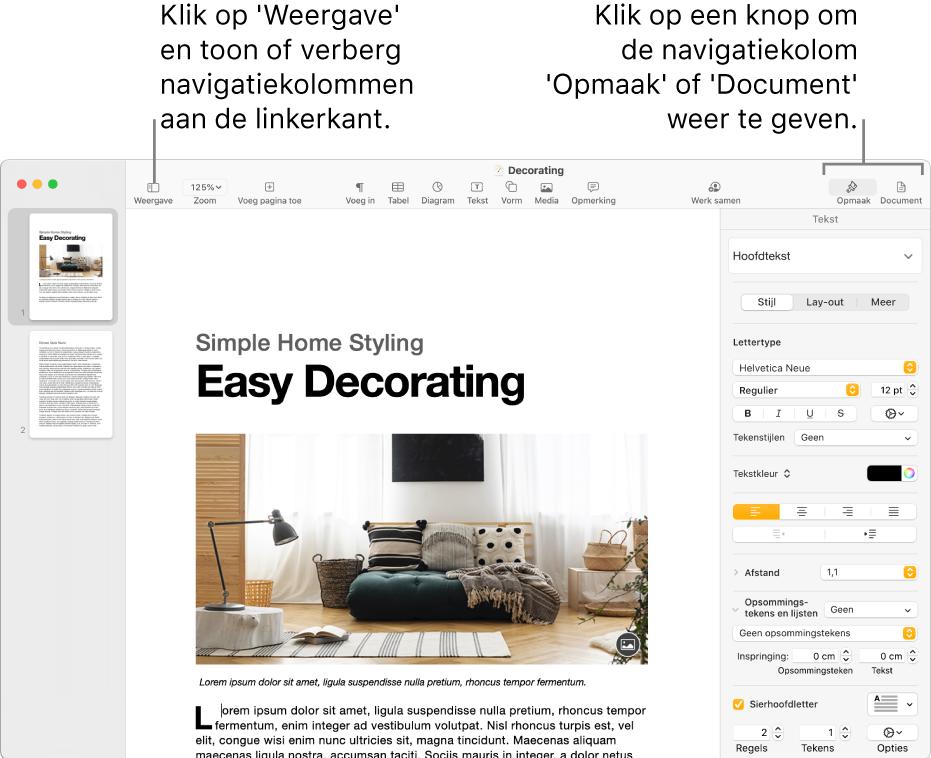 Het Pages-venster met uitleg bij de knop voor het Weergave-menu en de knoppen 'Opmaak' en 'Document' in de knoppenbalk. De navigatiekolommen zijn links en rechts geopend.