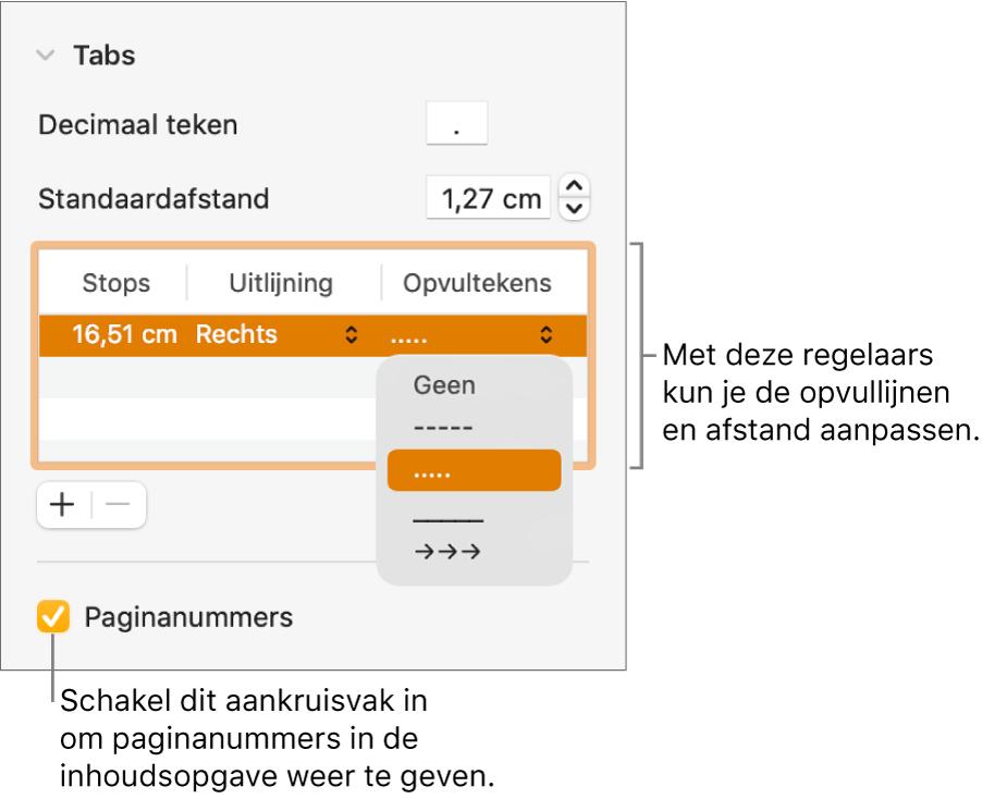 Het gedeelte 'Tabs' in de navigatiekolom 'Opmaak'. Onder 'Standaardafstand' staat een tabel met de kolommen 'Stops', 'Uitlijning' en 'Opvultekens'. Het aankruisvak 'Paginanummers' onder de tabel is ingeschakeld.