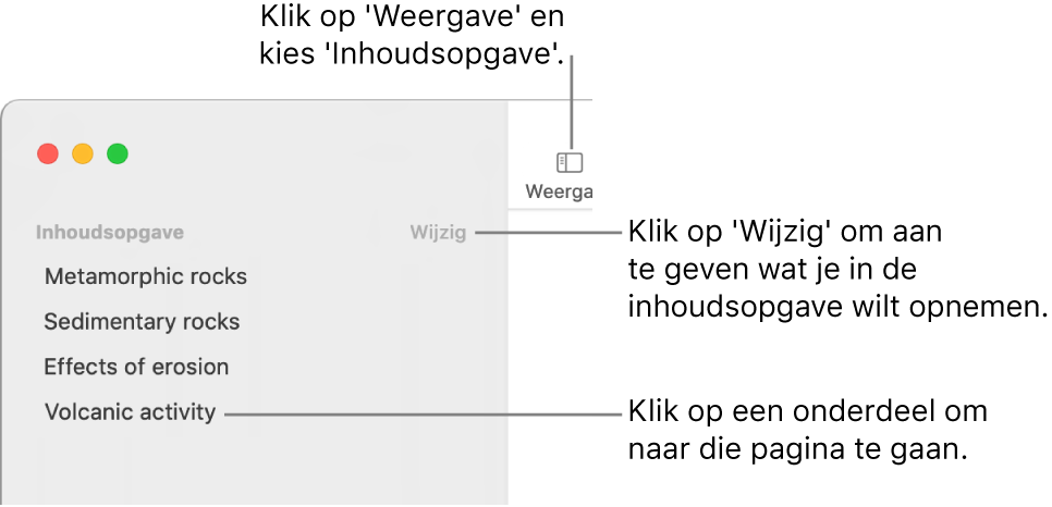 De inhoudsopgave aan de linkerkant van het Pages-venster met daarin een lijst met titels en rechtsboven in de navigatiekolom de knop 'Wijzig'. De knop 'Weergave' staat linksboven in de knoppenbalk van Pages, boven de navigatiekolom.