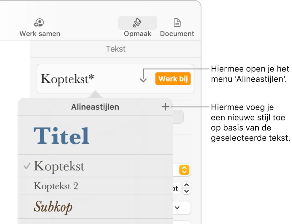 Het menu 'Alineastijlen' met regelaars voor het toevoegen of wijzigen van een stijl.
