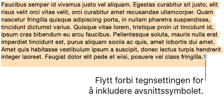 Et avsnitt er markert, med avsnittssymbolet inkludert i markeringen.