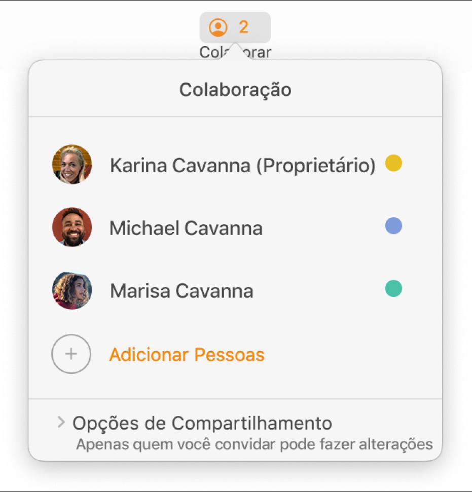 Menu Colaboração mostrando os nomes das pessoas que estão colaborando no documento. As opções de compartilhamento se encontram abaixo dos nomes.