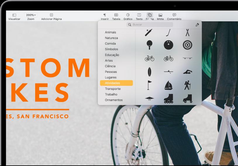 Barra de ferramentas com botões para adicionar tabelas, gráficos, caixas de texto, formas e mídia. Forma está selecionado e mostra a categoria Atividades selecionada na barra lateral à esquerda e formas à direita.