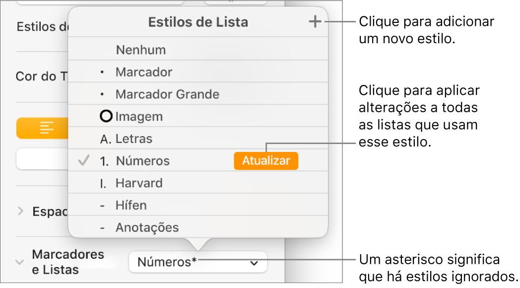 Menu Estilos de Lista com um asterisco que indica uma substituição, chamadas para o botão Novo Estilo e um submenu de opções para gerenciamento de estilos.