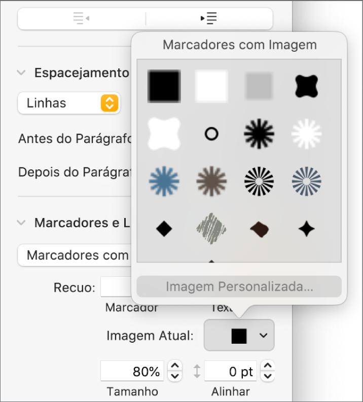 Menu local Marcadores com Imagem.
