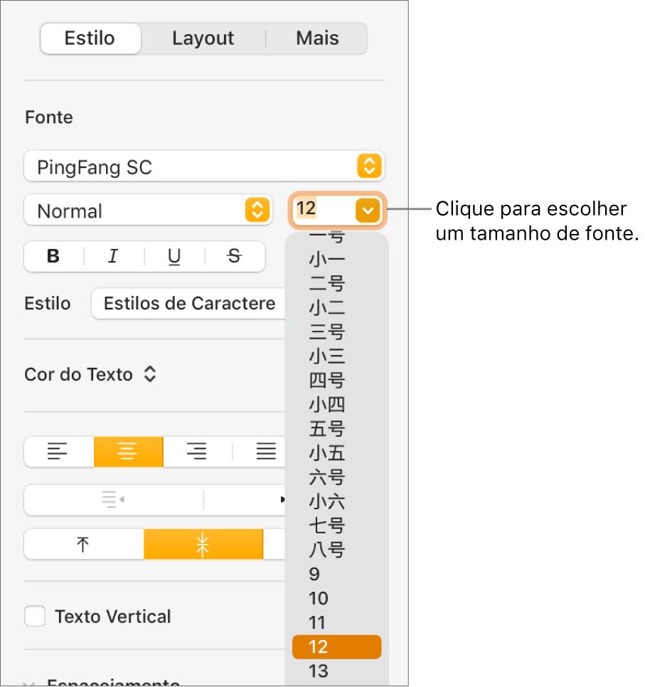 A seção Estilo da barra lateral Formatar com o menu pop-up de tamanho de fonte aberto. Os tamanhos de fonte padrão do governo da Chinacontinental aparecem na parte superior do menu pop-up com as opções de tamanho em pontos abaixo.
