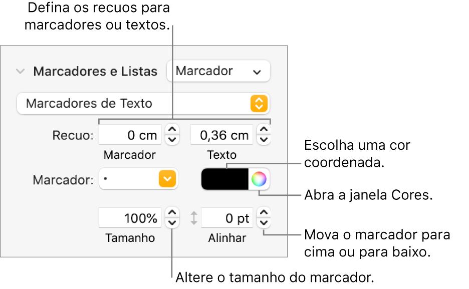 Seção Marcadores e Listas com chamadas para os controles de recuo de marcador e texto, cor de marcador, tamanho de marcador e alinhamento.