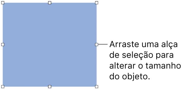 Objeto com quadrados brancos na borda para alterar o tamanho do objeto.